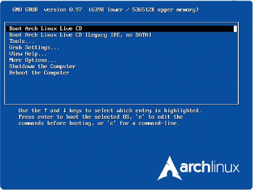arch linux live cd installateur