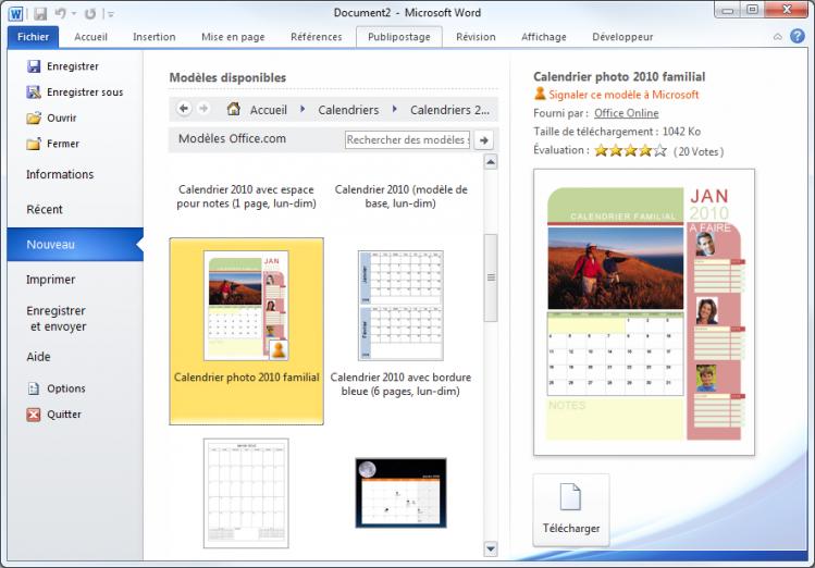Création d'un calendrier à partir d'un modèle Office.com