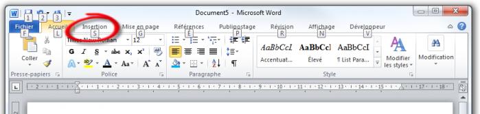 Des lettres correspondant aux raccourcis apparaissent dans la barre d'outils Accès rapide et dans le Ruban