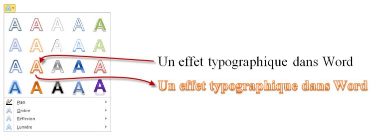 Les effets typographiques changent radicalement l'allure du texte
