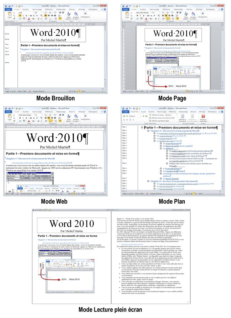 Le même document dans chacun des modes d'affichage de Word