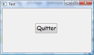 La fenêtre avec le bouton « Quitter »