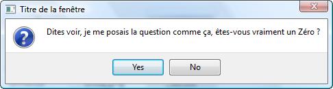 Boîte de dialogue question avec les boutons