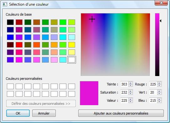 Fenêtre de sélection de couleur