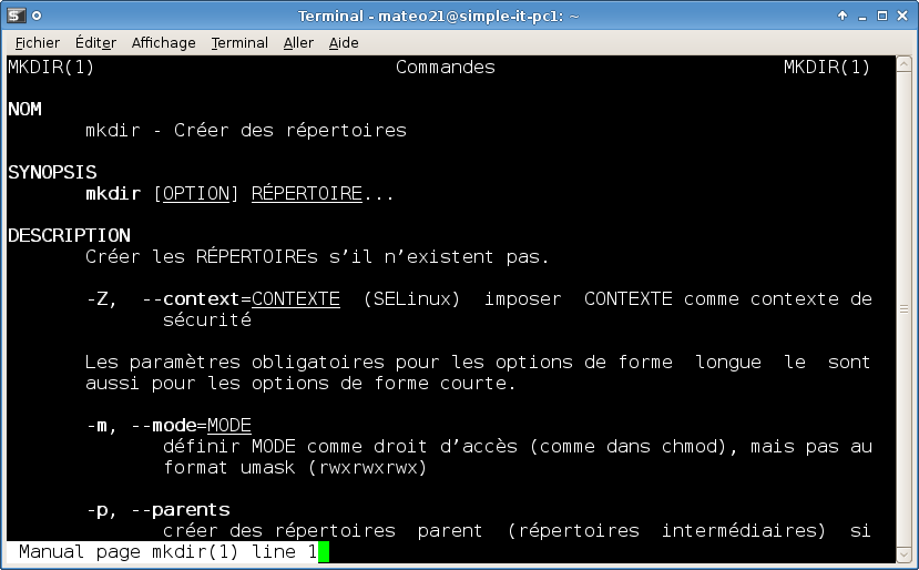 Pages du manuel en français