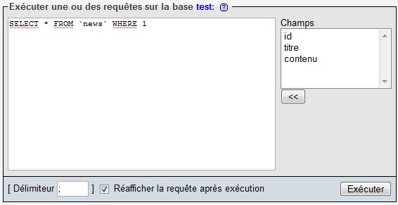 Écriture d'une requête SQL