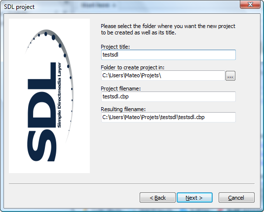 Assistant SDL et nom de projet