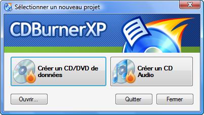 Accueil de CDBurnerXP Pro