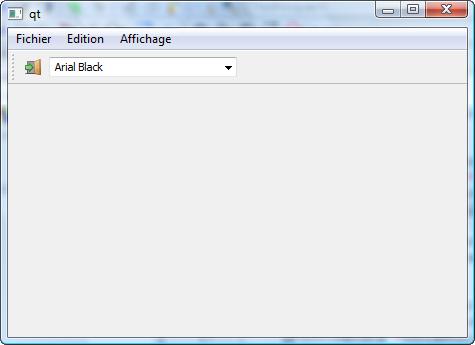 Un widget dans une barre d'outils