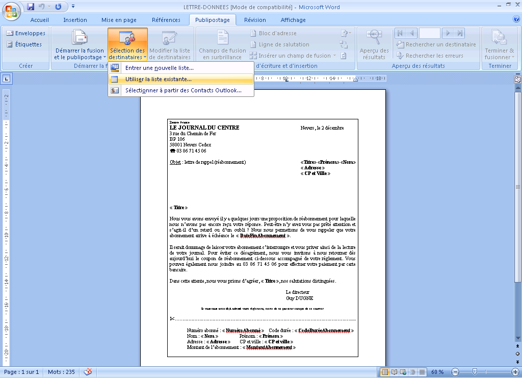 Modele de courrier word 2007 - Comment faire un publipostage sur open office ...