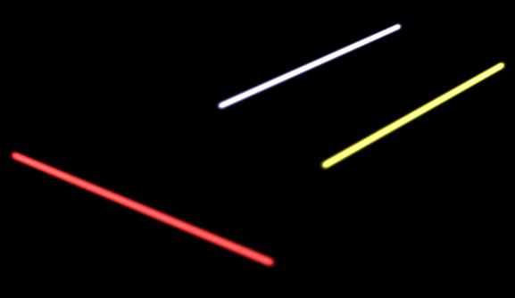 Après quelques tâtonnements, voici trois beaux sabres lasers !