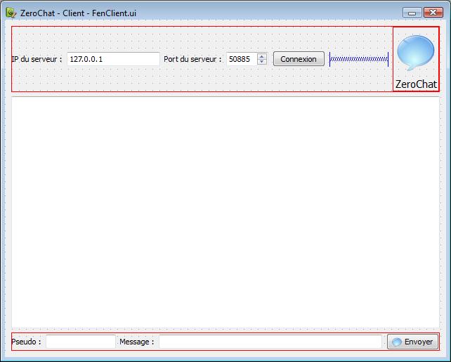 Fenêtre du client sous Qt Designer