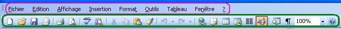 Exemple de barre d'outils
