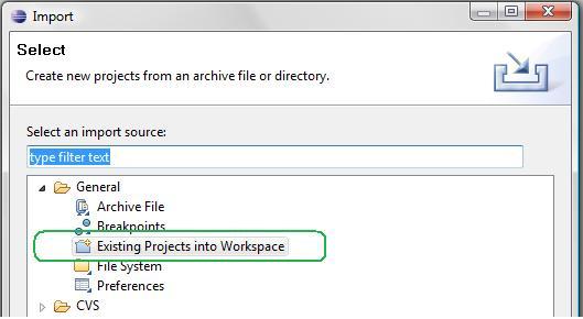 Importer un projet existant dans Eclipse