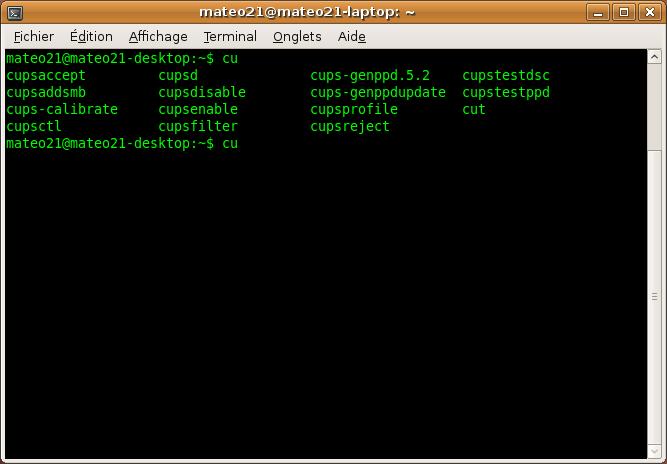 Le shell autocomplète les commandes et les noms de fichiers