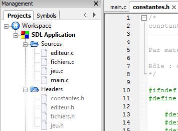 Liste des fichiers d'un projet plus complexe