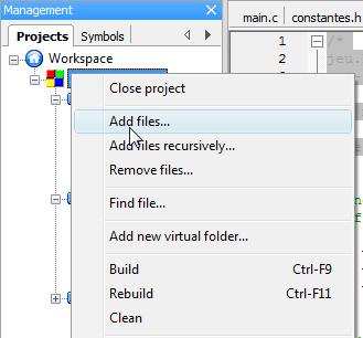 Ajout de fichiers au projet