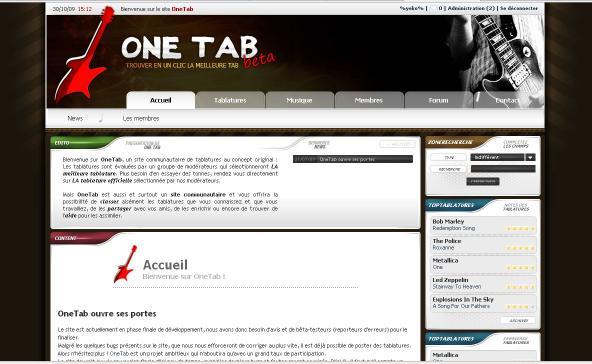 accueille de OneTab