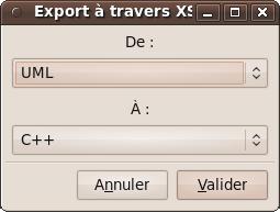 Déterminer le langage dans lequel sera exporté le diagramme