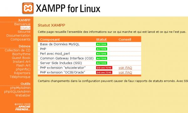 Statut des composants de XAMPP