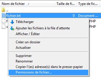 Modifier les permissions d'un fichier