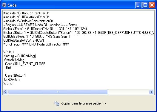 Fenêtre du Code