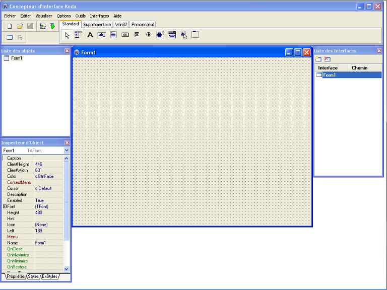 Interface graphique de Koda Form Designer