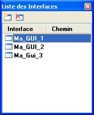 Panneau Liste des Interfaces