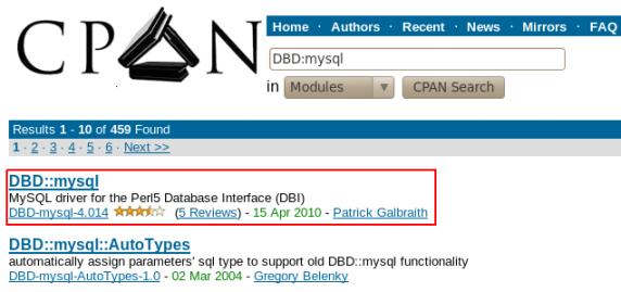 Installation du module DBD