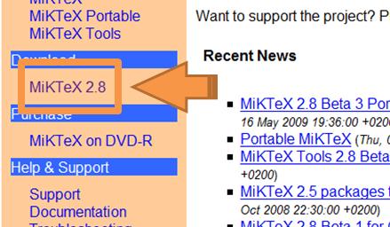 Lien de téléchargement de MikTeX