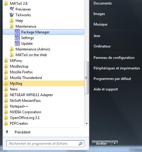Trouver le Package Manager dans le menu