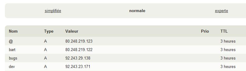 Définition des enregistrements (normal)
