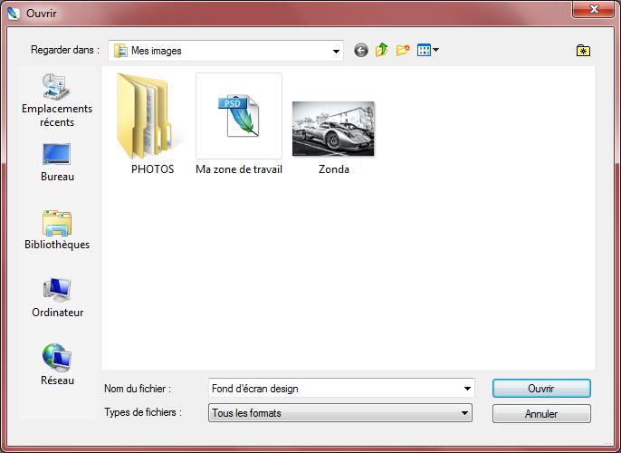 Ouvrir un document - Fenêtre