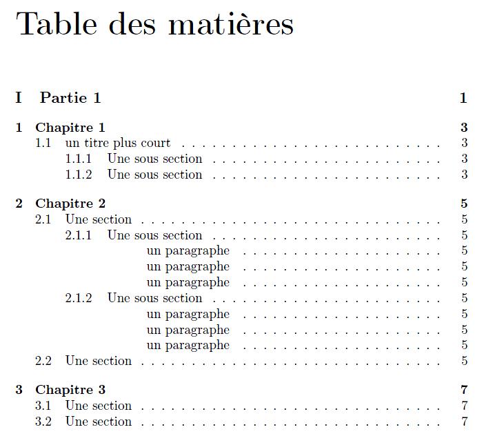 Sommaire et index r digez des documents de qualit avec latex openclassrooms - Exemple table des matieres ...