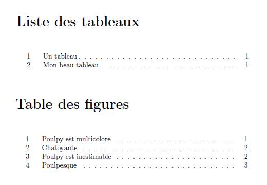 Table des figures et Table des tableaux