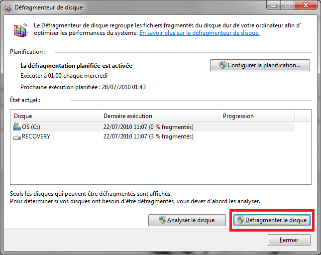 Outil de défragmentation de Windows 7