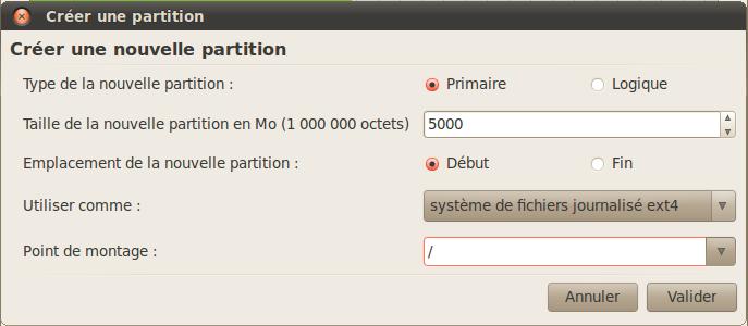 Création de la partition Ubuntu