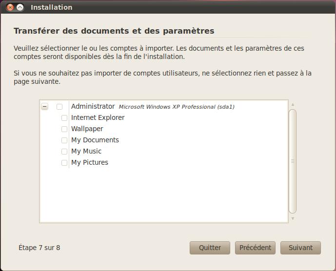 Importation des données de Windows