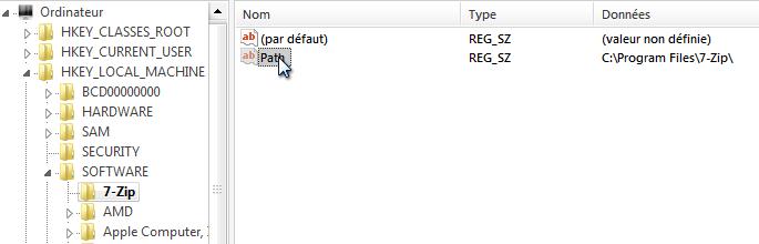 La valeur « Path » est présente dans la clé 7-Zip, ce qu'elle contient est le chemin de l'emplacement de ce programme dans mon ordinateur