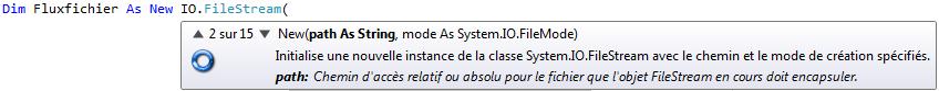 L'assistant de Visual Basic vous propose plusieurs possibilités