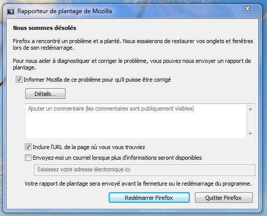 Firefox a rencontré un problème et a planté