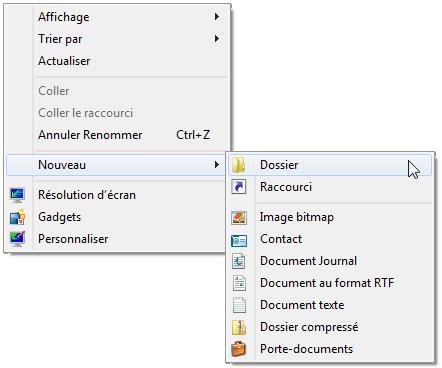 Clic-droit > Nouveau > Dossier