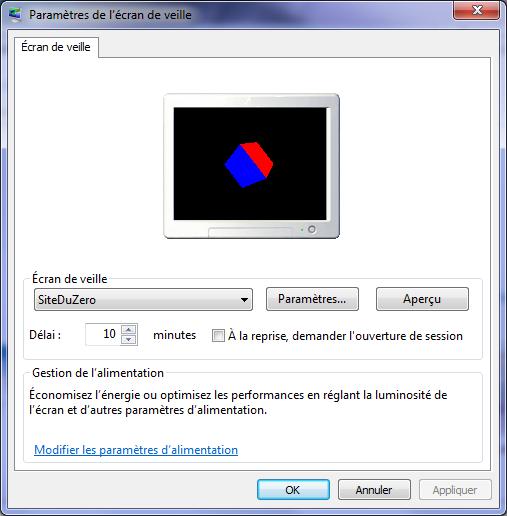 Exemple d'écran de veille