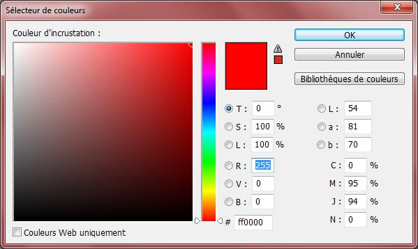 Incrustation couleur - Sélecteur de couleurs