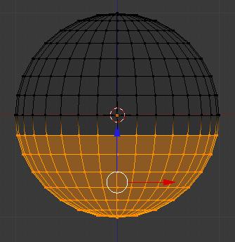 Les vertices sont maintenant sélectionnés (en orange)