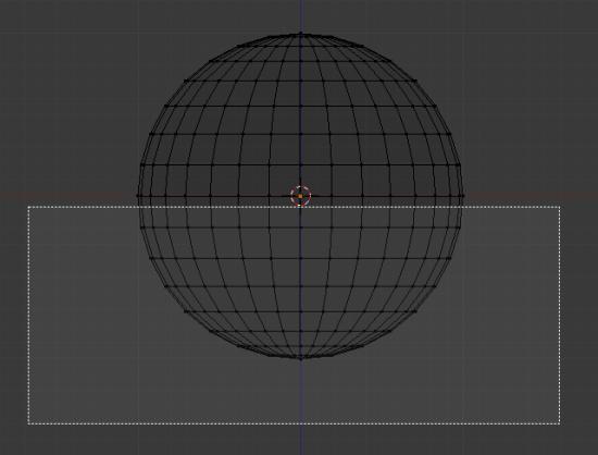 Tracez un rectangle sur la moitié inférieure de la sphère
