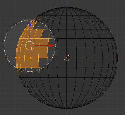Le clic gauche sélectionne les points contenus dans le cercle
