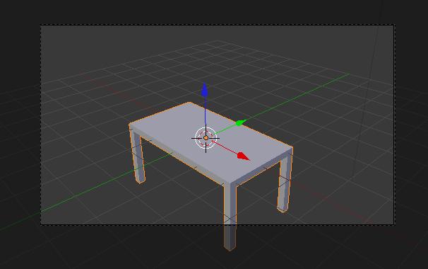 Un pied de la table est dans la zone noircie