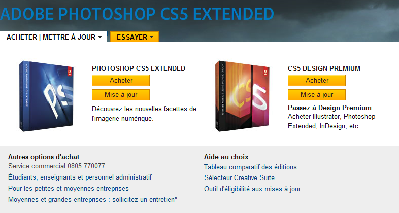Adobe Photoshop CS5 : acheter, màj