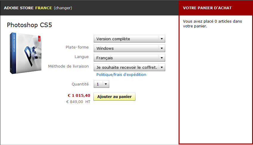 Adobe Photoshop CS5 : acheter